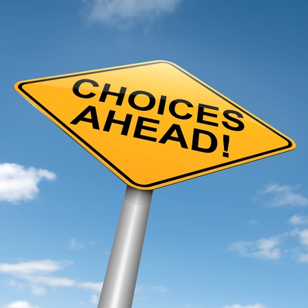 Illustration depicting a directional roadsign with a choices concept. Blue sky background.