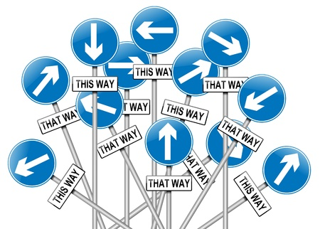disorientated: Illustration depicting a large number of directional roadsigns in a chaotic arrangement. White  background. Stock Photo