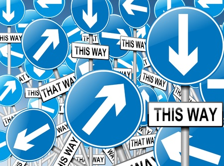 Illustration depicting a large number of directional roadsigns in a chaotic arrangement. Blue background. illustration