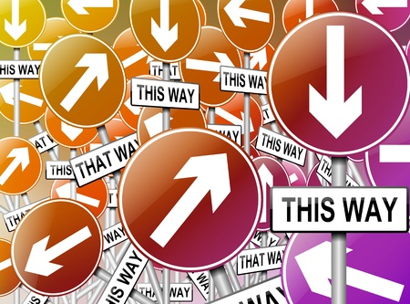 disorientation: Illustration depicting a large number of directional roadsigns in a chaotic arrangement. Blue background.