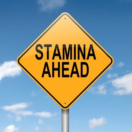 stamina: Illustration depicting a roadsign with a stamina concept  Blue sky background
