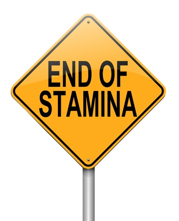 with stamina: Illustration depicting a roadsign with an end of stamina concept  White  background  Stock Photo