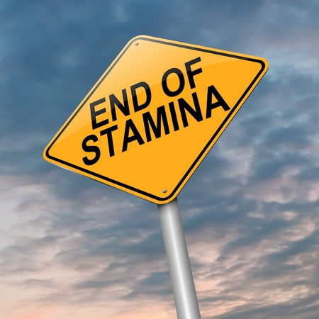 lacking: Illustration depicting a roadsign with an end of stamina concept  Dark cloudy sky  background