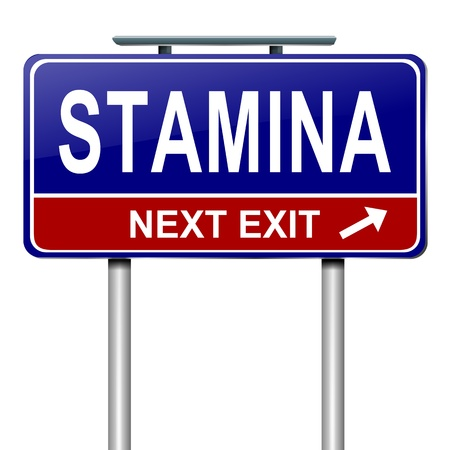 Illustration depicting a roadsign with a stamina concept  White  background