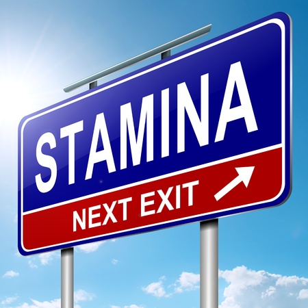 stamina: Illustration depicting a roadsign with a stamina concept  Blue sky and sunlight  background  Stock Photo
