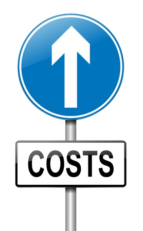outgoings: Illustration depicting a roadsign with a cost increase concept  White background
