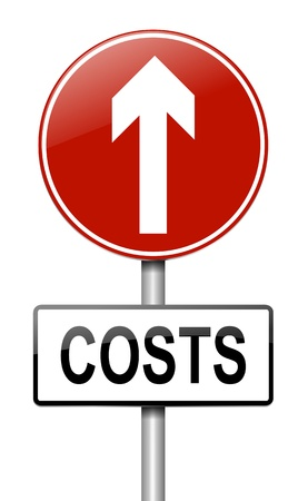 Illustration depicting a roadsign with a cost increase concept  White background