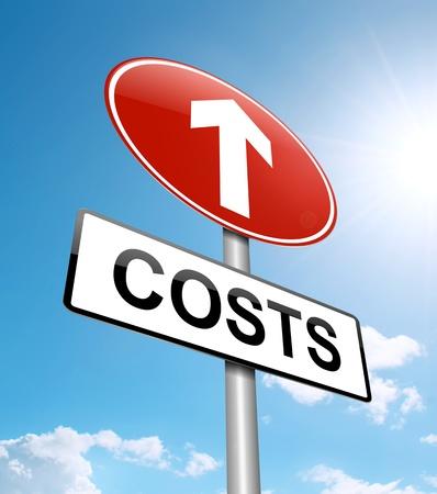 Ilustración que muestra un letrero con un aumento de los costos fondo de cielo azul concepto Foto de archivo