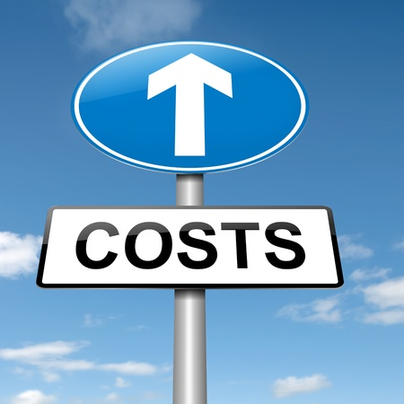 increasing: Illustration depicting a roadsign with a cost increase concept  Blue sky background