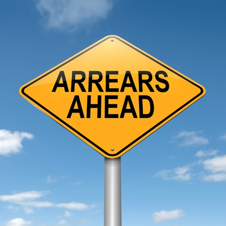 Illustration depicting a roadsign with an arrears concept  Blue sky  background
