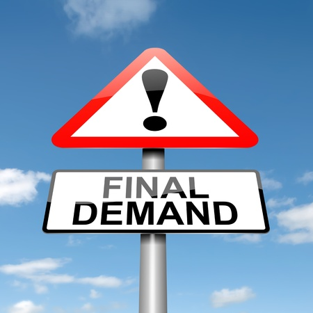 demand: Illustration depicting a roadsign with a final demand concept  Blue sky  background