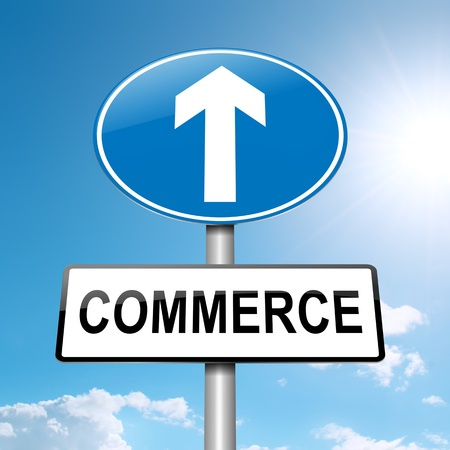 export import: Illustration depicting a roadsign with a commerce concept  Bright sunlight and blue sky background