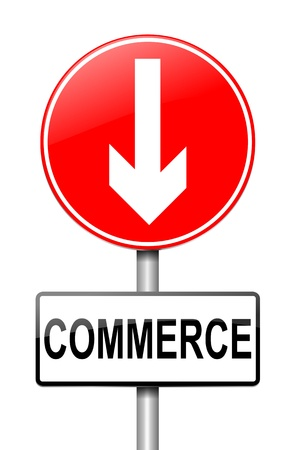 Illustration depicting a roadsign with a commerce concept  White background  illustration