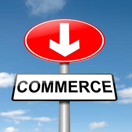 Illustration depicting a roadsign with a commerce concept  Blue sky background  illustration