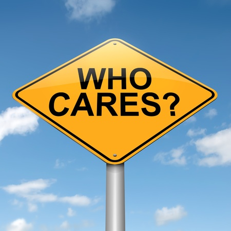 glum: Illustration depicting a roadsign with a who cares concept  Blue sky background  Stock Photo