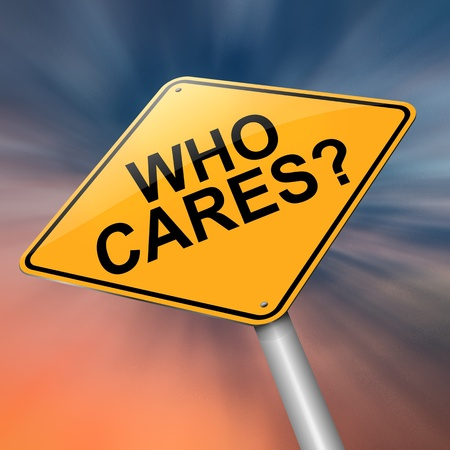 lonely road: Illustration depicting a roadsign with a who cares concept  Abstract background