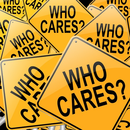 glum: Illustration depicting many roadsigns with a who cares concept