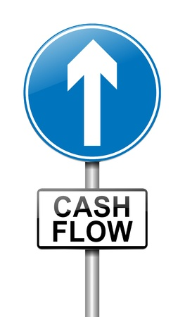 takings: Illustration depicting a roadsign with a cash flow concept. White  background. Stock Photo