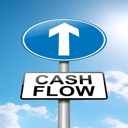 flujo de dinero: Ilustraci�n que representa a un roadsign con un concepto de flujo de caja. Fondo del cielo azul.