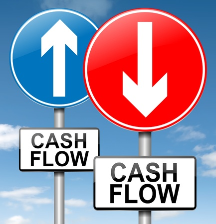 negative returns: Illustration depicting two roadsigns with a cash flow concept. Blue sky background.