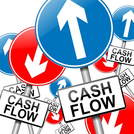 equities: Illustration depicting many roadsigns with a cash flow concept. White background.