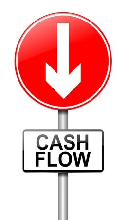 falling money: Illustration depicting a roadsign with a cash flow concept. White  background. Stock Photo