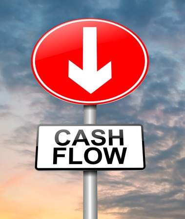 profit and loss: Illustration depicting a roadsign with a cash flow concept. Cloudy dusk sky  background.