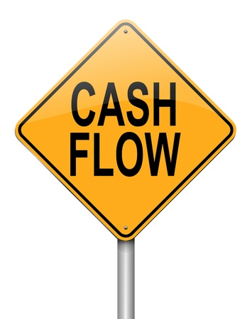equities: Illustration depicting a roadsign with a cash flow concept. White background.
