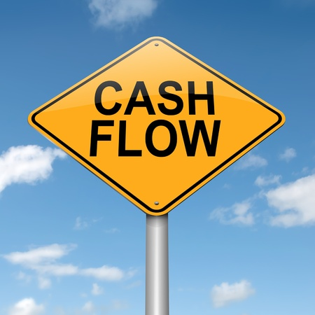 falling money: Illustration depicting a roadsign with a cash flow concept. Blue sky background. Stock Photo