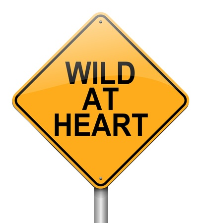 rowdy: Illustration depicting a roadsign with a wild at heart  concept. White  background.