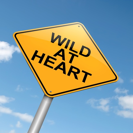 rowdy: Illustration depicting a roadsign with a wild at heart  concept. Blue sky background. Stock Photo