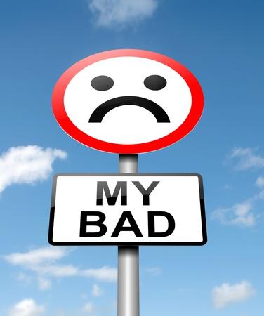 """pardon: Illustration représentant un panneau routier avec un """"my bad"""" concept. Fond de ciel bleu. Banque d'images"""