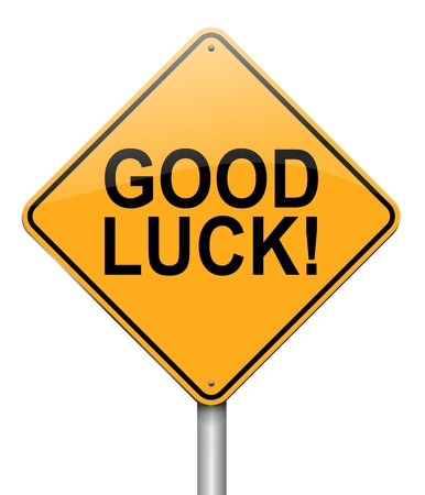 fluke: Illustration depicting a roadsign with a good luck concept. White background. Stock Photo