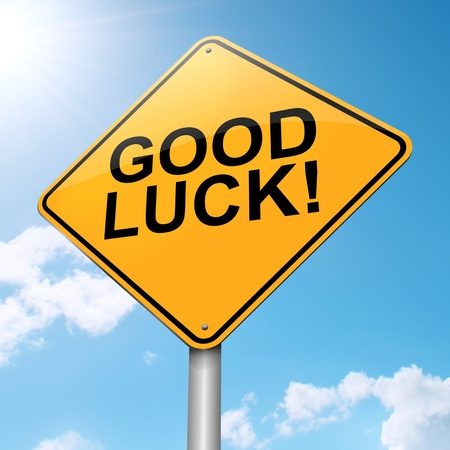 good break: Illustration depicting a roadsign with a good luck concept. Blue sky background.