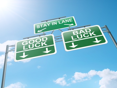 lucky break: Illustration depicting a roadsign with a good luck concept. Blue sky background.