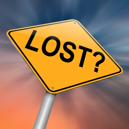 astray: Illustration depicting a roadsign with a lost concept. Abstract background. Stock Photo
