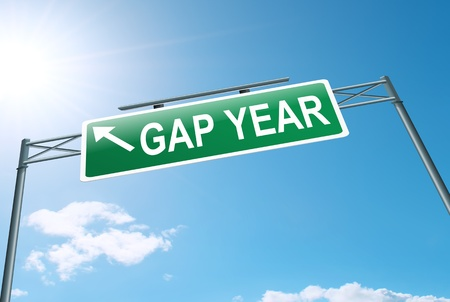 generation gap: Illustration depicting a roadsign with a gap year concept. Blue sky background. Stock Photo