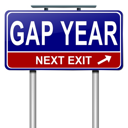 gap: Illustration depicting a roadsign with a gap year concept. White  background.