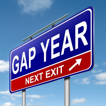 gap: Illustration depicting a roadsign with a gap year concept. Blue sky  background.