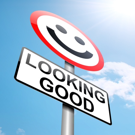 Illustration depicting a roadsign with a looking good concept. Blue sky background. Stock Illustration - 15192928