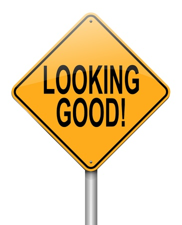 evaluating: Illustration depicting a roadsign with a looking good concept. White  background. Stock Photo
