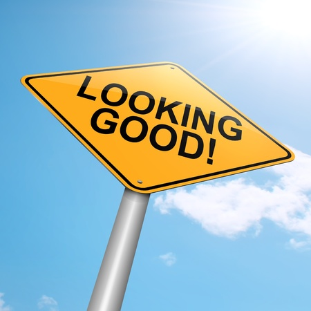 good looking: Illustration depicting a roadsign with a looking good concept. Blue sky background.
