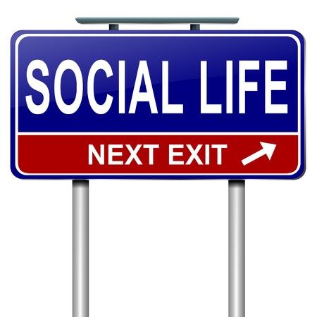 vie sociale: Illustration repr�sentant un panneau routier avec un concept de vie sociale. Fond blanc.
