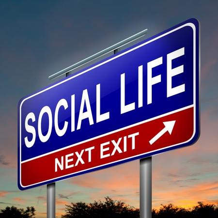 vie sociale: Illustration repr�sentant un panneau de signalisation lumineux avec un concept de vie sociale. Sunset background sombre. Banque d'images