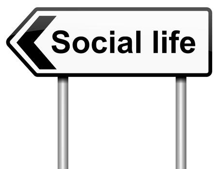 vida social: Ilustración que representa a un roadsign con un concepto de la vida social. Fondo blanco. Foto de archivo
