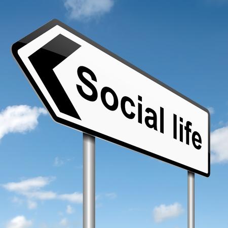 vie sociale: Illustration repr�sentant un panneau routier avec un concept de vie sociale. Fond de ciel bleu.