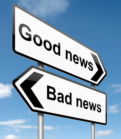 good or bad: Illustration depicting roadsigns with a news concept. Blue sky  background. Stock Photo