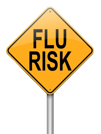 contagious: Illustration depicting a roadsign with a flu concept. White  background.