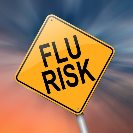 vaccination: Illustration depicting a roadsign with a flu concept. Abstract  background.