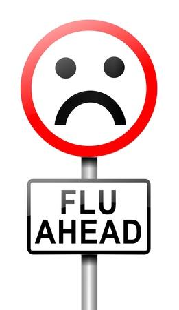 gripe: Ilustración que muestra un letrero con un concepto de la gripe. Fondo blanco.